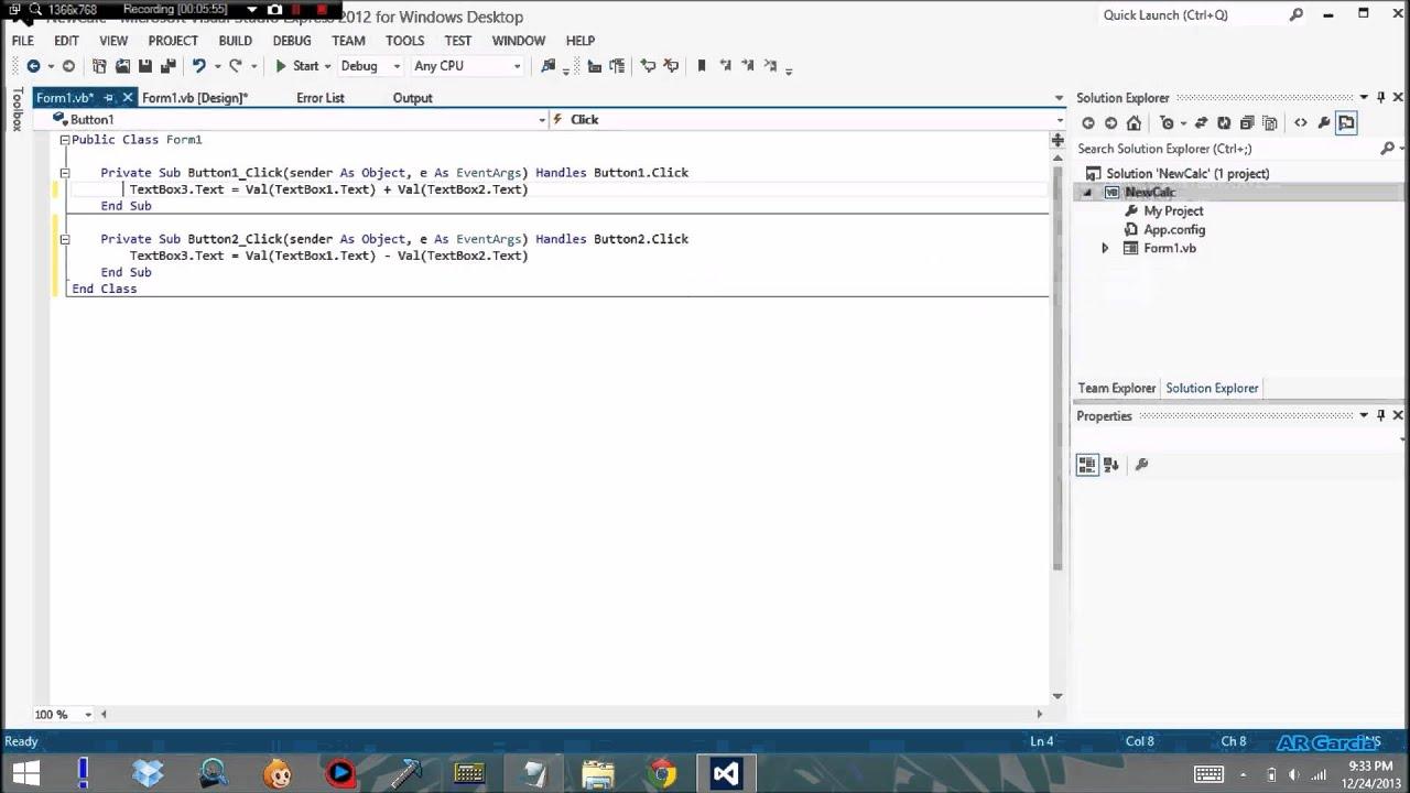 Visual Basic Simple Calculator Tutorial (Visual Studio 2012 ...