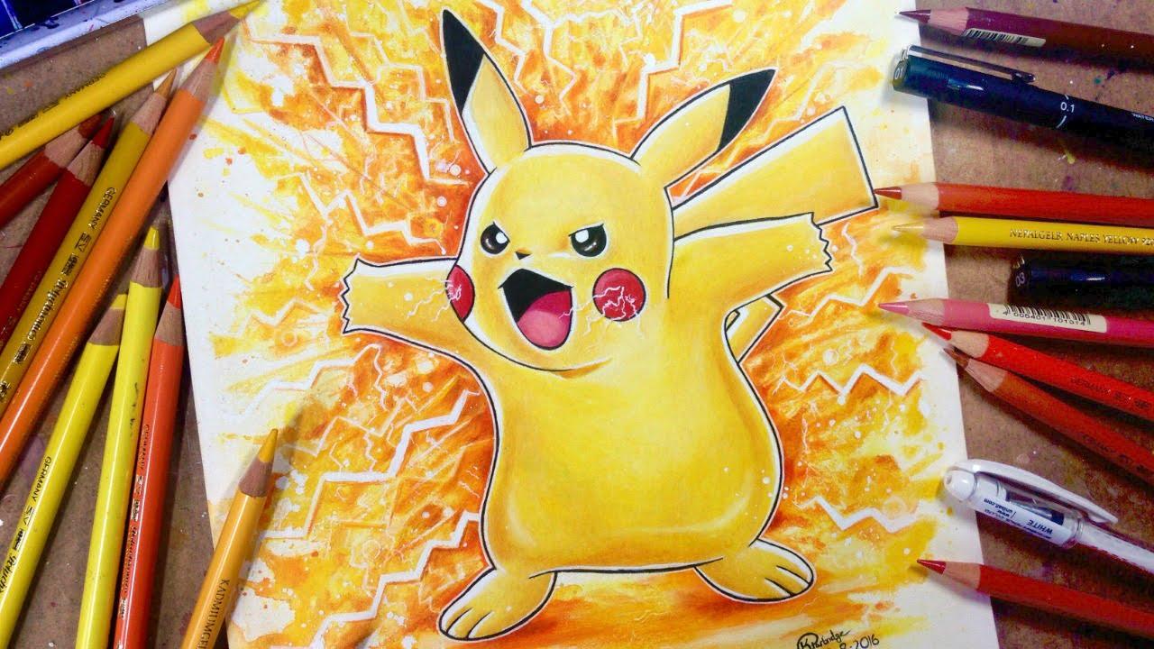 Dessiner Pokemon Go Super Effet De Pikachu à Laquarelle