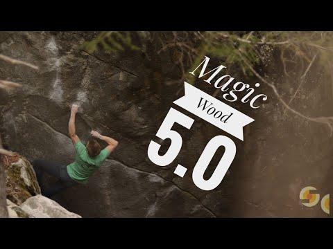 Orrin Coley climbing in Magic Wood