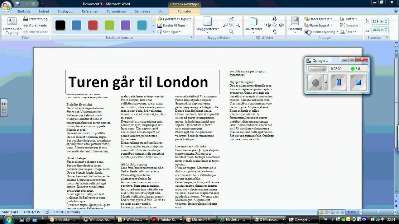 avisartikel - simpelt layout med Word 2007