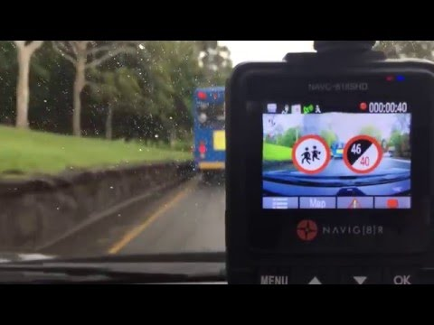 Digital Map, School Zone Over Speed Limit Alert while recording on the background