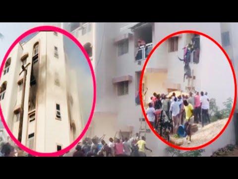 Violent incendie à ouest foire :L'immeuble d'un internat ravagé, Des femmes sautent du 2e étage..
