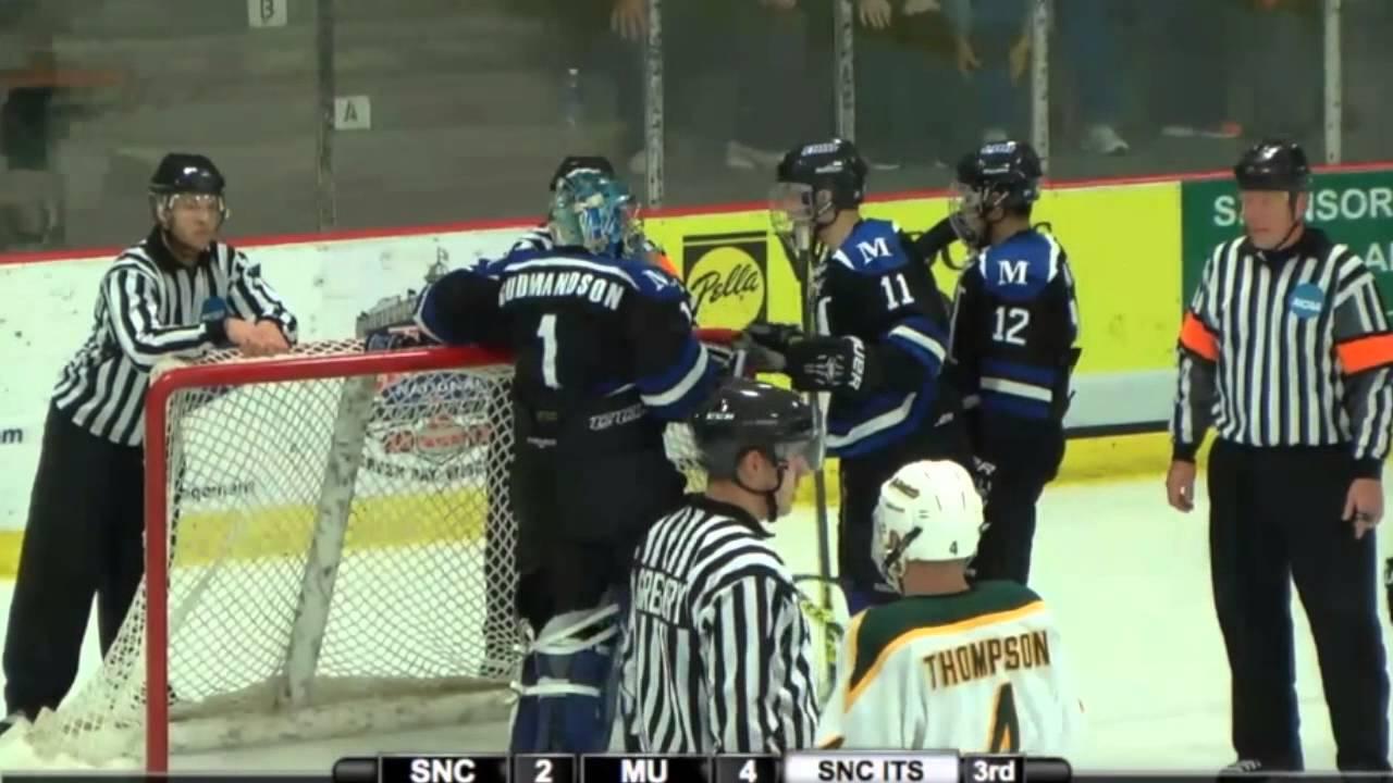 Marian University Hockey - #1 Mike Gudmandson Save 1 (15 ...