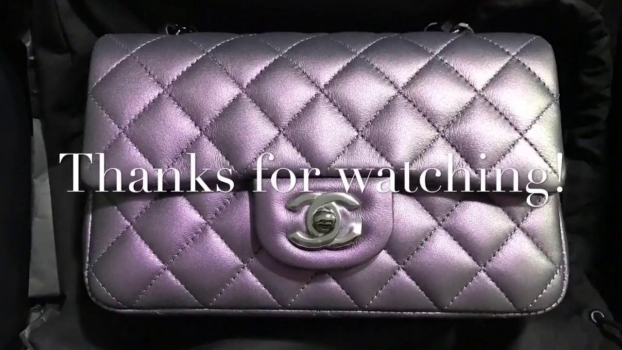 d259ba38f15e Unboxing of Chanel Mini Flap Dark Purple Metallic Lambskin - YouTube