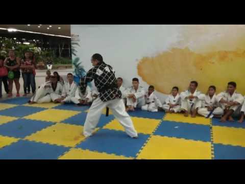Taekwondo demostração com muchaco
