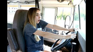 SKOOLIE- SCHOOL BUS CONVERSION!!! First time Skoolie drivers!!!