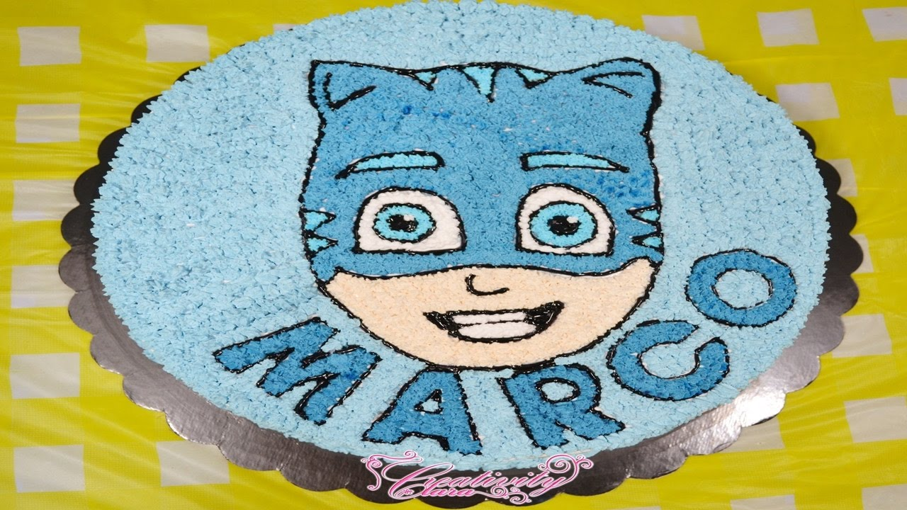 pjmasks cake tutorial , torta panna super facile gattoboy superpigiamini