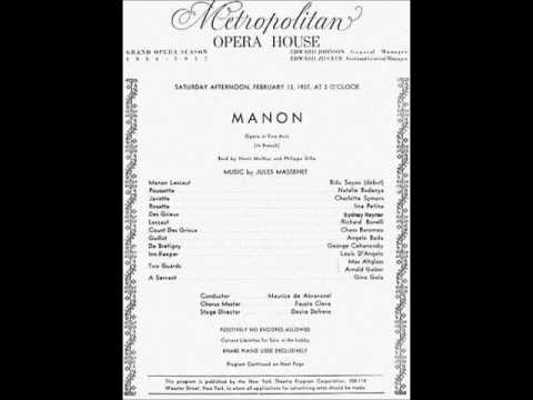 Manon Live 1937 Metropolitan Opera (Sayão, Rayner, Bonelli, Baromeo - Abravanel)