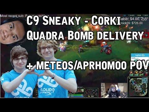 C9 Sneaky - Corki quadra bomb delivery + Meteos & Aphro ...