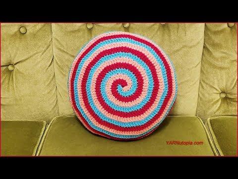 How to Crochet Tutorial: DIY Candy Swirl Pillow by YARNutopia