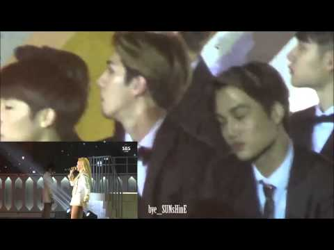 EXO(ft. Sunggyu) watching 2NE1 - Come Back Home and CL's rap at SBS Gayo Daejun 2014