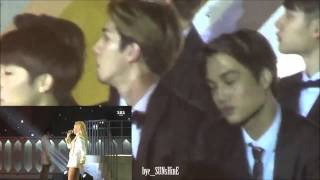 exo ft sunggyu watching 2ne1 come back home and cls rap at sbs gayo daejun 2014