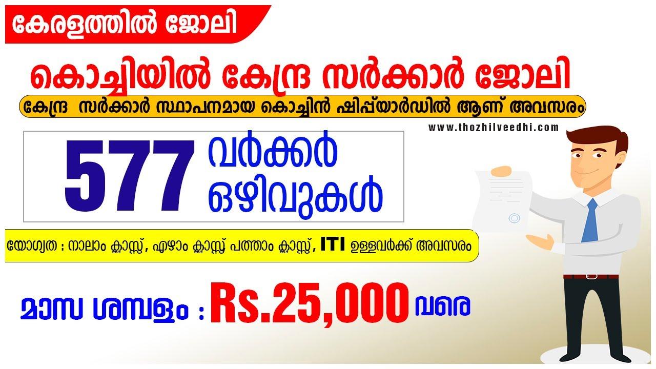 577 ഒഴിവുകളുമായി കൊച്ചിയില് കേന്ദ്ര സര്ക്കാര് ജോലി - Cochin Shipyard Limited Recruitment 2020 A2Z