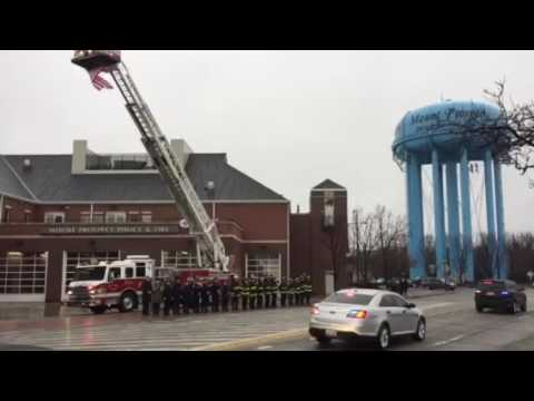 Funeral Procession For Officer Passes Through Downtown Mount Prospect