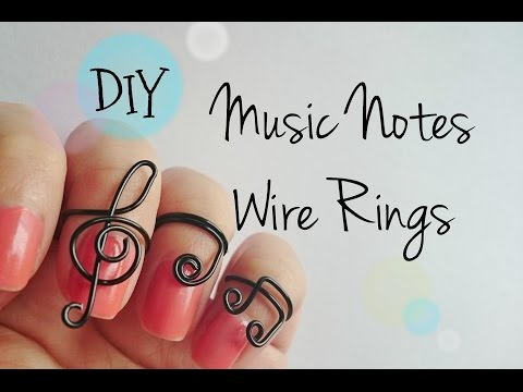 DIY Music Notes Wire Rings, 3 different designs adjustable rings