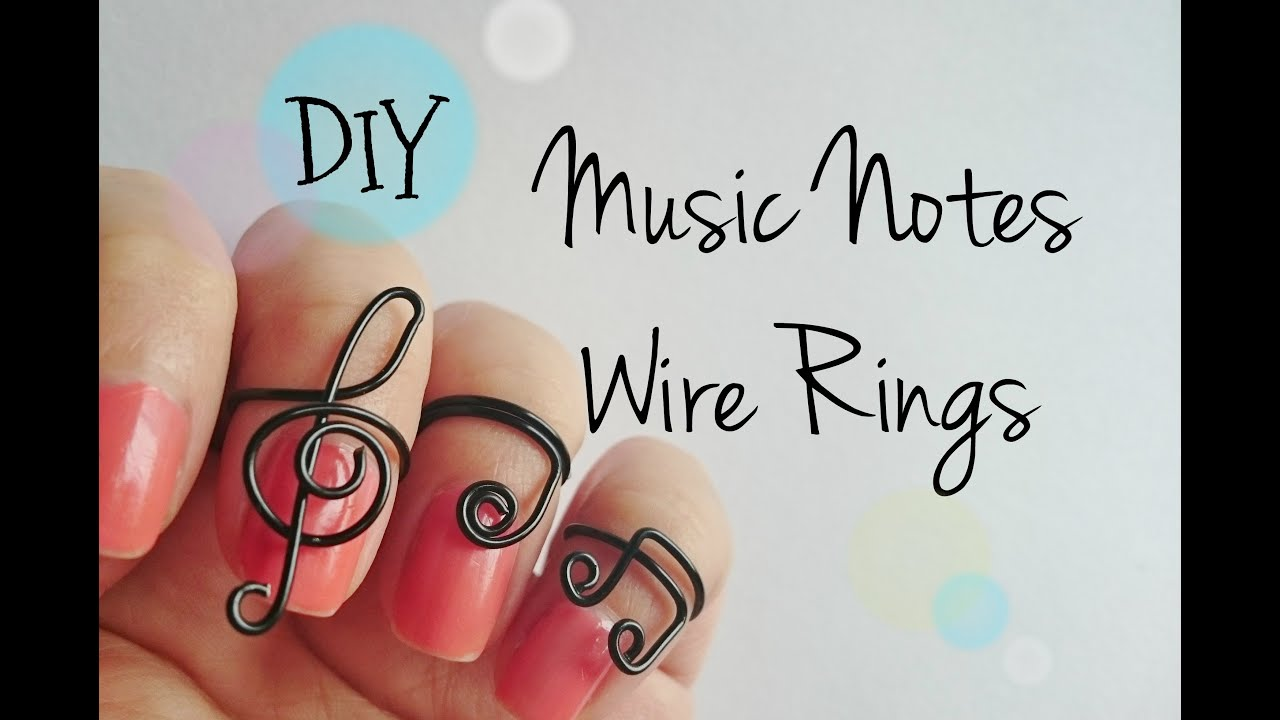 DIY Music Notes Wire Rings, 3 different designs adjustable rings ...