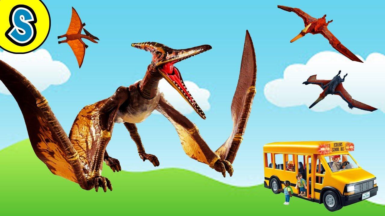 Pteranodons attack School Bus   Skyheart's Dinosaurs playmobil toys trex jurassic world mattel