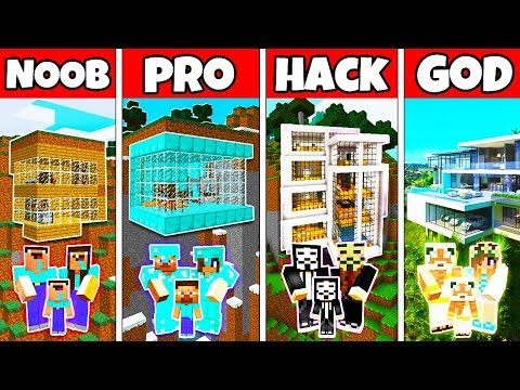 Minecraft: FAMILY MODERN MOUNTAIN HOUSE BUILD CHALLENGE - NOOB vs PRO vs HACKER vs GOD in Minecraft thumbnail