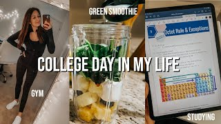 VLOG: green smoothie, gym, class, studying