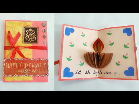 DIY Diwali Card How To Make Popup Diya Simple And Easy For