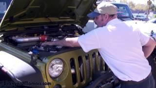 Jeep JK Wrangler Stock 3.6 Engine Super Charged vs 6 2 LS V8 Engine