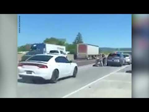 Live footage of I-83 shooting arrest