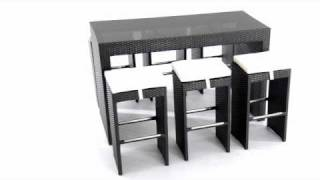 Agadir Bar Table Dining And Stools Set By Zuo Modern