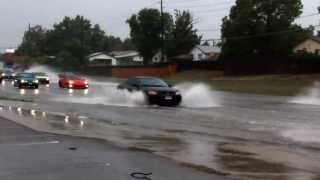 Cars going though high water