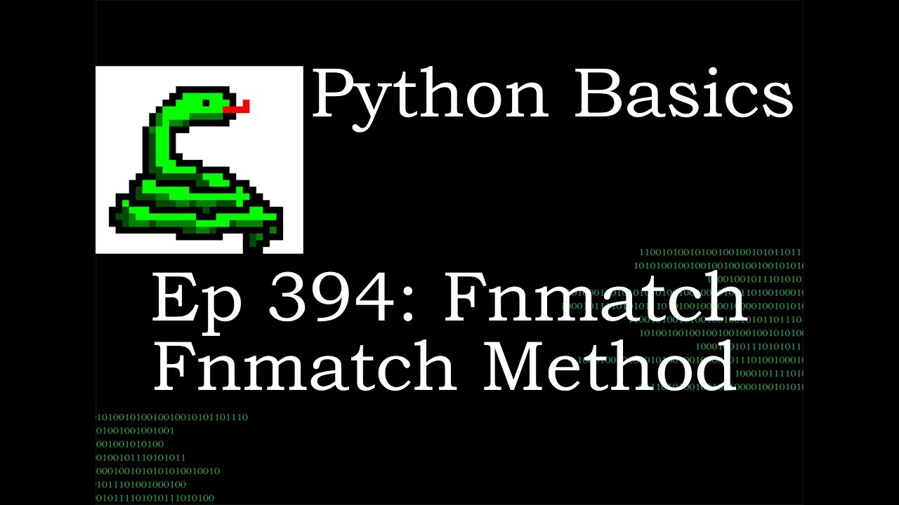 Python Basics Fnmatch Fnmatch Method