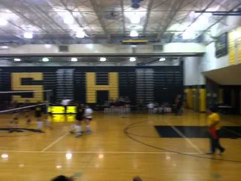 Volley Ball at Sterling Heights High School; Darlene on the Bench