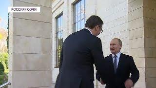 Путин лично встертил Вучича на пороге резиденции