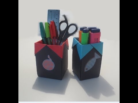 how to make an amazing origami pen holder youtube. Black Bedroom Furniture Sets. Home Design Ideas