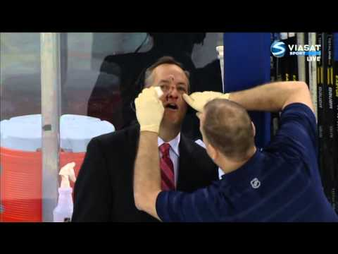 MSGs John Giannone gets hit by puck in the face NHL 2013-02-07