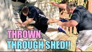 FAT MAN THROWN THROUGH SHED! Backyard Wrestling BEATDOWN!