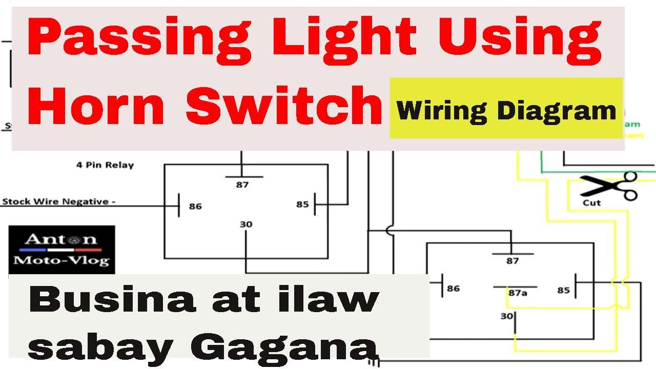 [SODI_2457]   Passing Light Using Horn switch Diagram I Busina at ilaw sabay Gagana -  YouTube | Horn Switch Wiring Diagram |  | YouTube