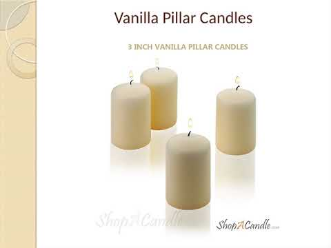 3 Inch Vanilla Unscented Pillar Candles Set On Shopacandle