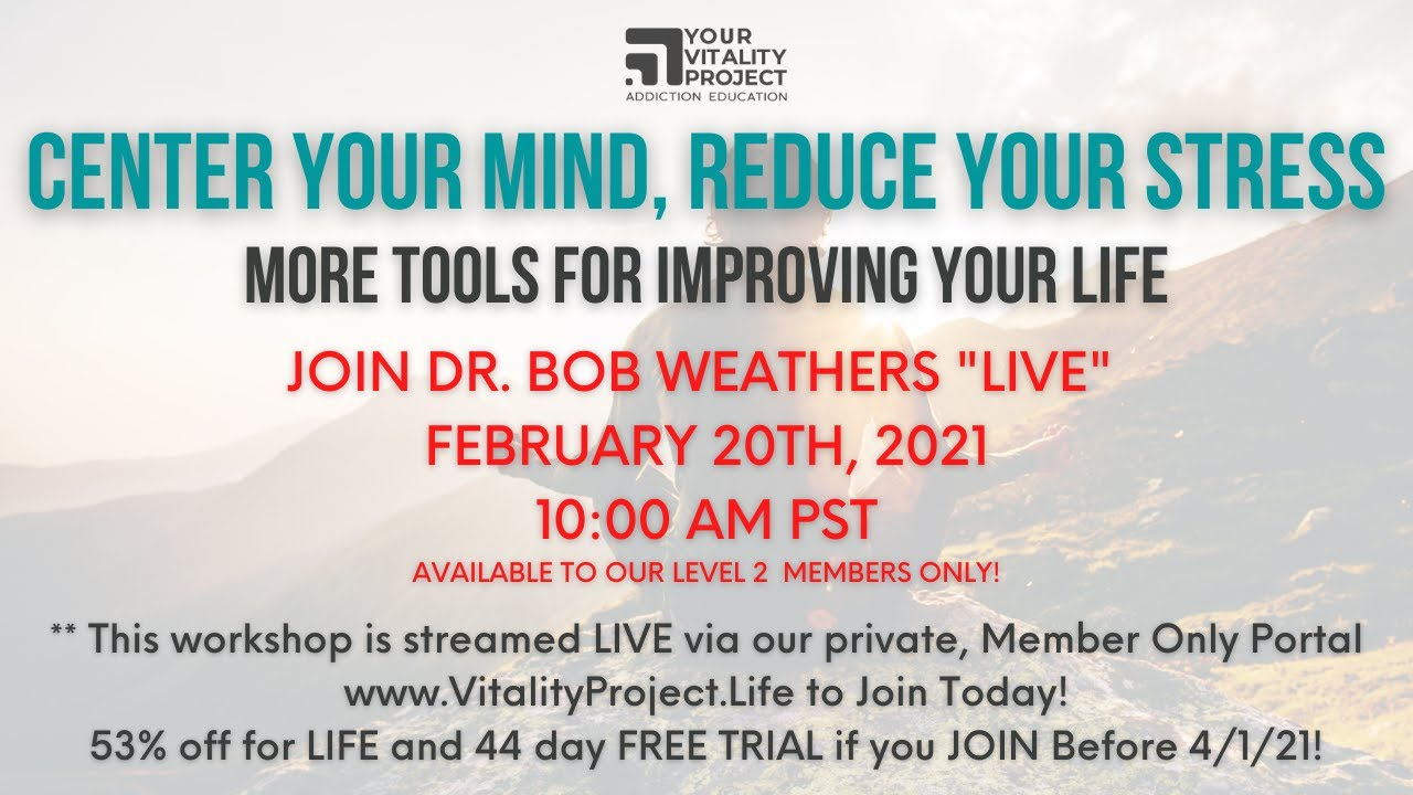 """""""Finding Vitality"""" LIVE with Dr. Bob and Guests"""
