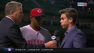 Raisel Iglesias after his save against the Cubs