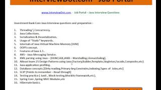 Invesment Banking Java Interview Question and Answer