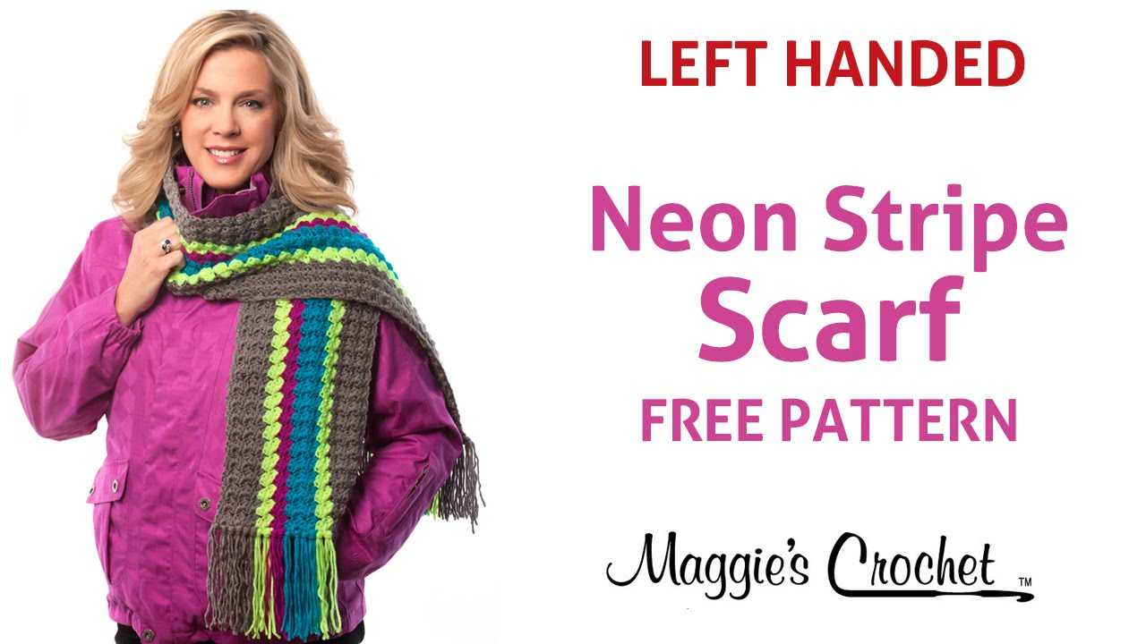 Deborah Norville Every Day Soft Yarn Neon Stripe Scarf Free Crochet ...