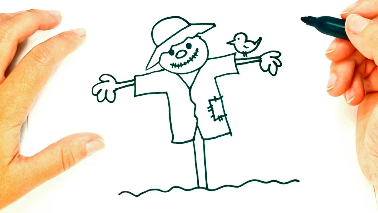 how to draw a scarecrow scarecrow easy draw tutorial