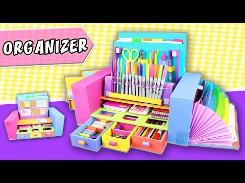 DESKTOP ORGANIZER from Cardboard - Back to school | aPasos Crafts DIY
