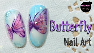 Butterfly Nail Art (How to draw a butterfly, tutorial, gel nails)