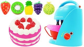 Strawberry Cake Blender & Mixer Playset Play Doh Cutting Fruits Toys Kinder Surprise Eggs for Kids