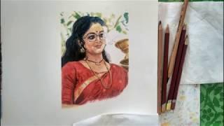 Pastel drawing: Portrait of Manju Warrier by Ambika Radha