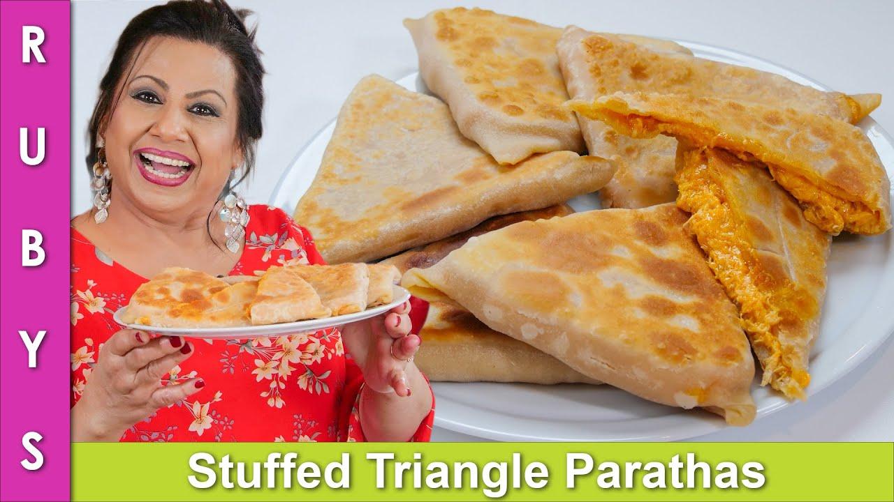 Stuffed Chicken Triangle Parathas Recipe in Urdu Hindi - RKK