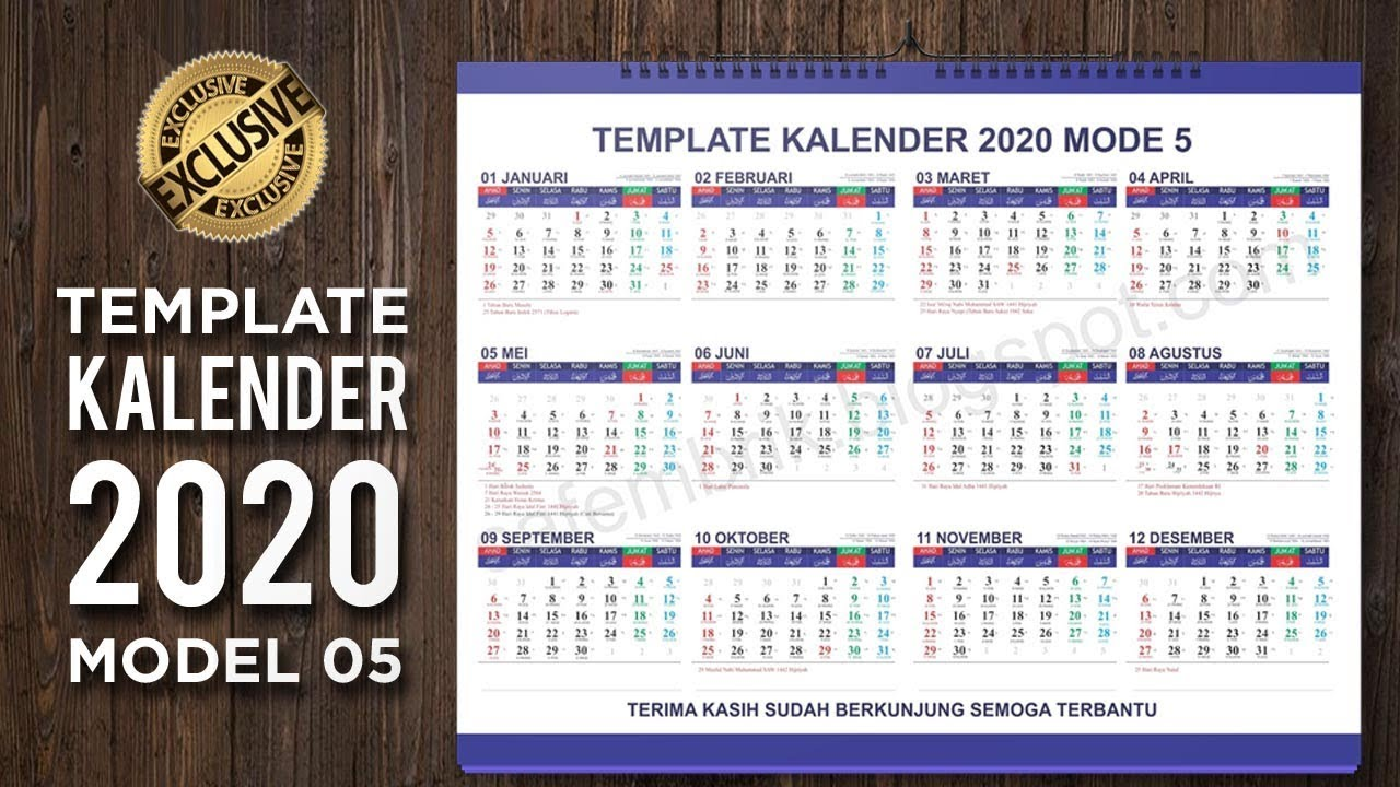 lengkap template kalender 2020 model 05 format coreldraw. Black Bedroom Furniture Sets. Home Design Ideas