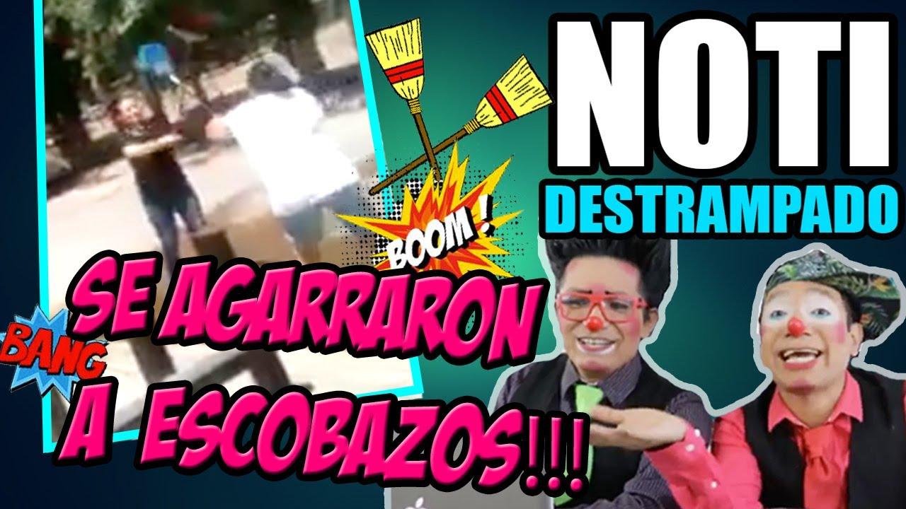 SE AGARRARON A ESCOBAZOS EN EL NOTI DESTRAMPADO 16 DE JUNIO 2017