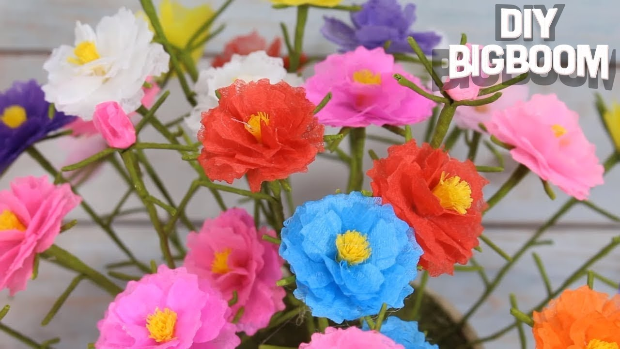 Simple Tutorial For How To Make Tissue Paper Flowers Portulaca