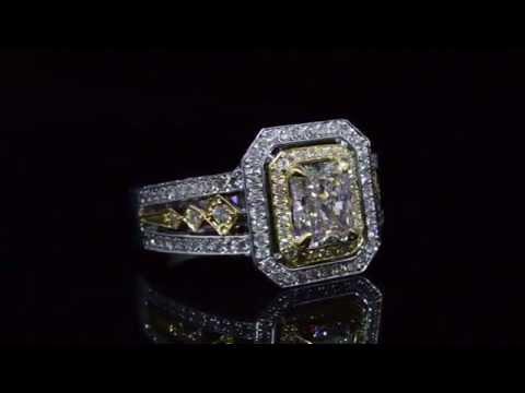 Radiant cut Diamond 18k Two Tone Engagement Ring 22268